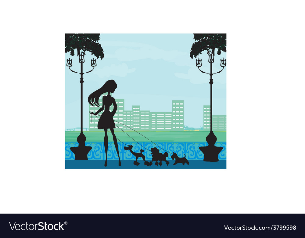 Pretty girl walking the dogs vector | Price: 1 Credit (USD $1)