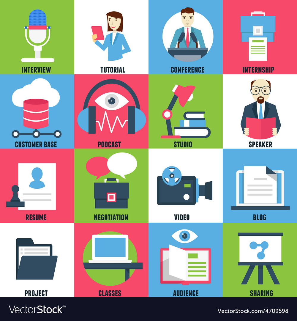Set flat icons of business learning vector | Price: 1 Credit (USD $1)