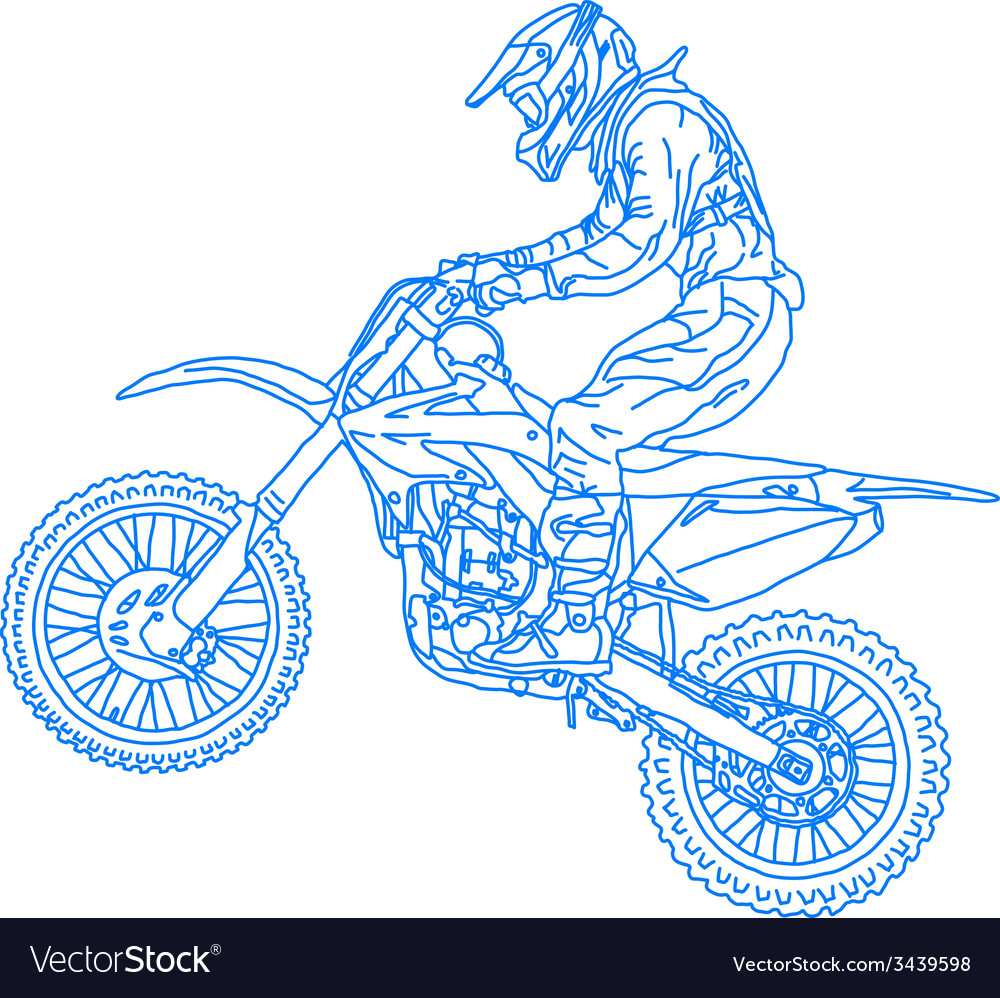 Silhouettes motocross rider on a motorcycle vector | Price: 1 Credit (USD $1)