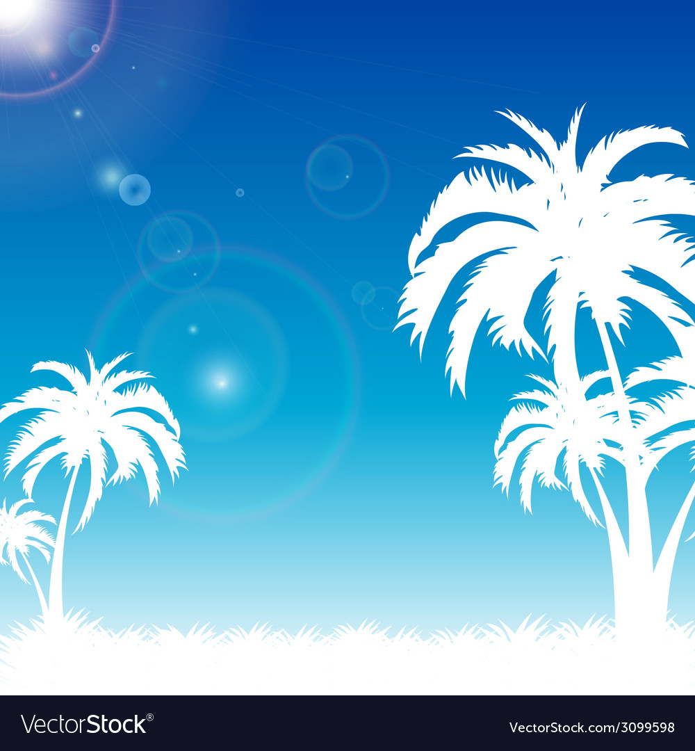 Summer blue sky on palm beach vector | Price: 1 Credit (USD $1)