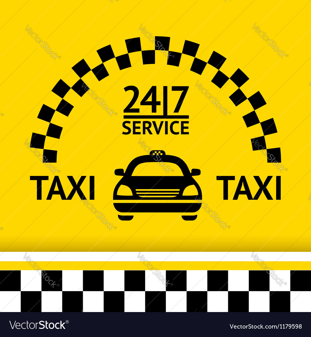 Taxi symbol and car on the background vector | Price: 1 Credit (USD $1)