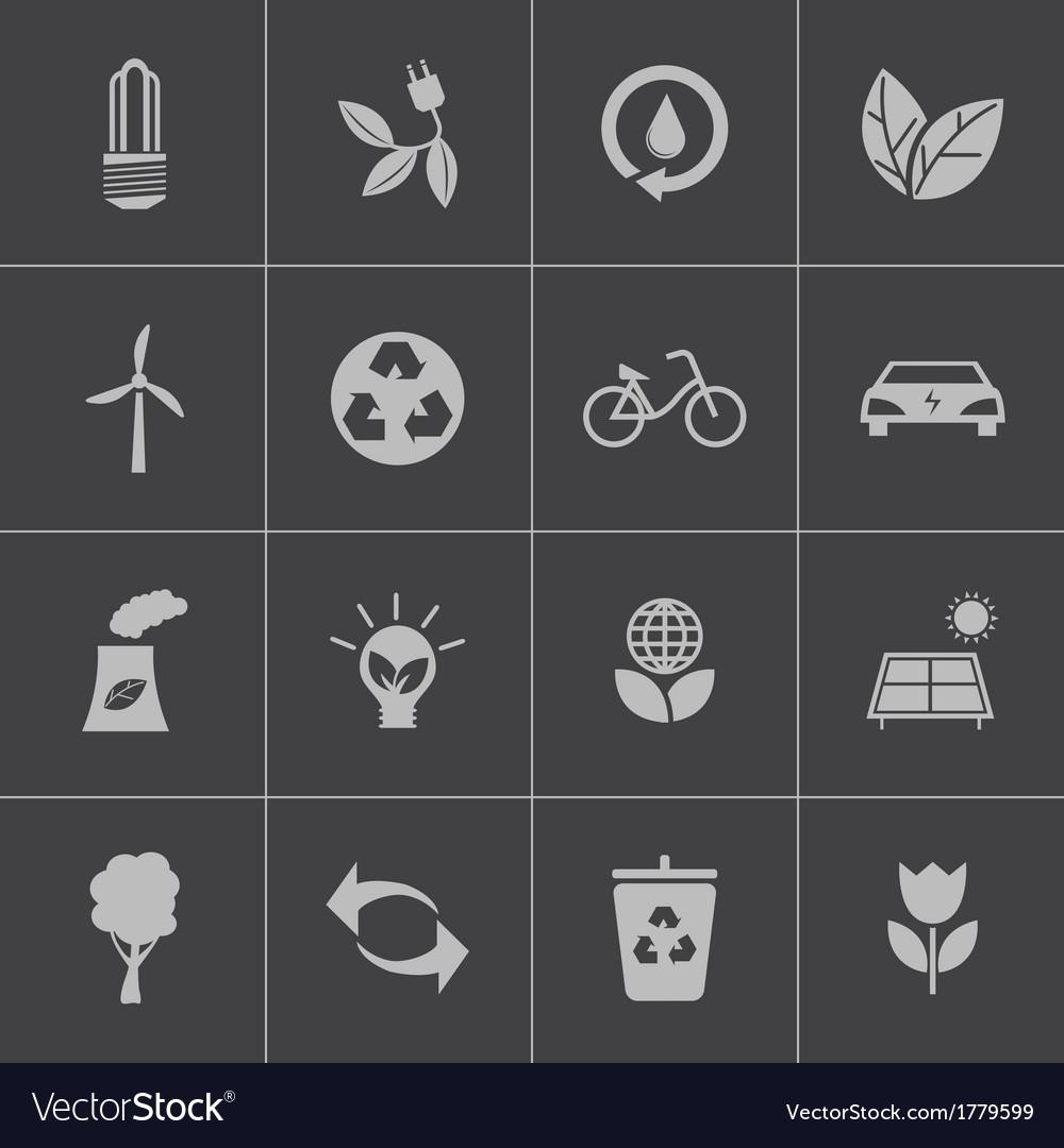 Black eco icons set vector   Price: 1 Credit (USD $1)