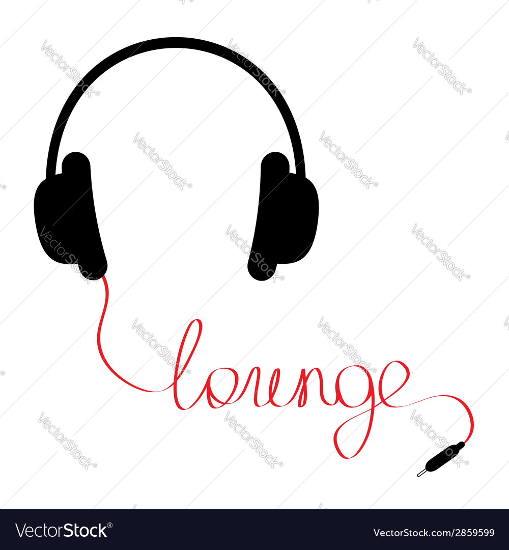 Black headphones with red cord shape lounge vector | Price: 1 Credit (USD $1)