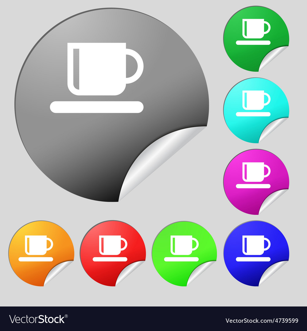 Coffee cup icon sign set of eight multi-colored vector   Price: 1 Credit (USD $1)