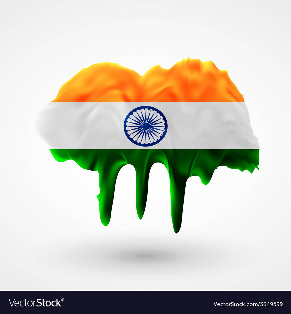 Flag of india painted colors vector | Price: 3 Credit (USD $3)