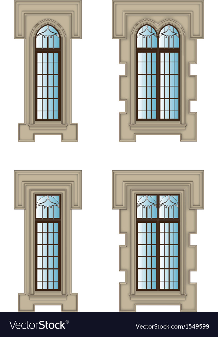 Gothic windows set vector | Price: 1 Credit (USD $1)