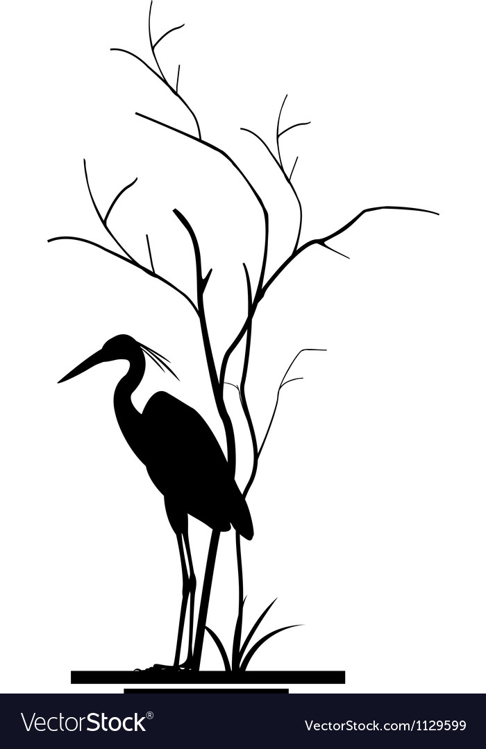 Heron and tree silhouette vector | Price: 1 Credit (USD $1)