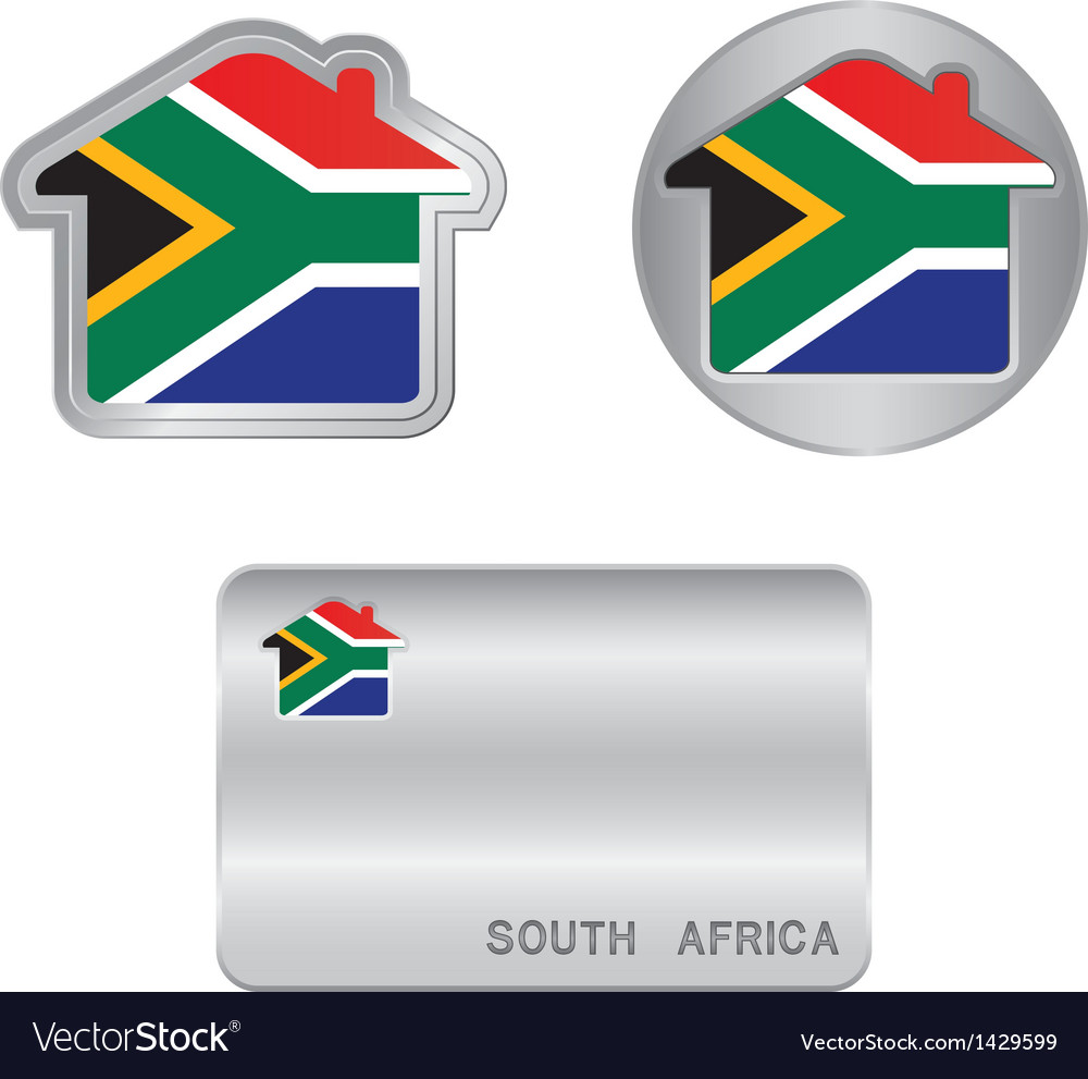 Home icon on the south africa flag vector | Price: 1 Credit (USD $1)