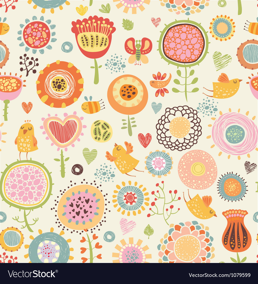 Pattern with birds and flowers vector | Price: 1 Credit (USD $1)