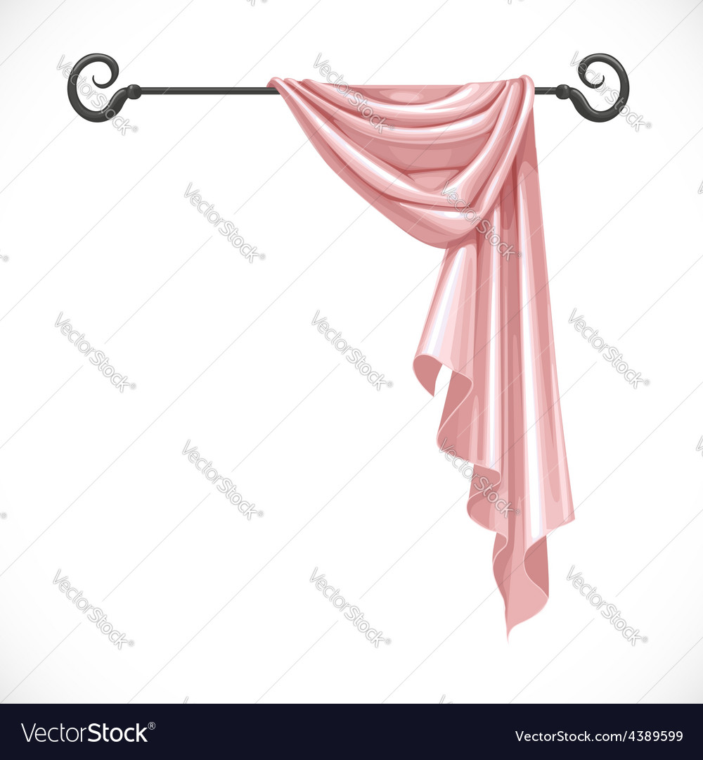 Pink drapery hanging on forged cornice isolated on vector   Price: 3 Credit (USD $3)