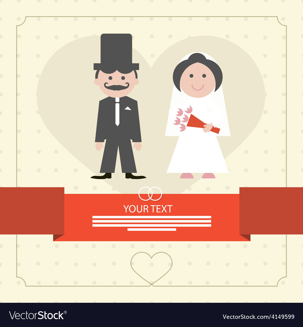 Retro flat design wedding card vector | Price: 1 Credit (USD $1)