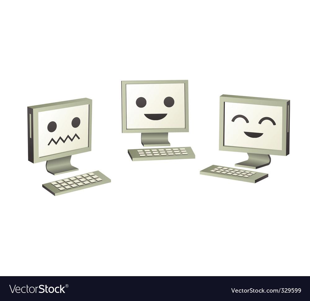 Three cute computers computers vector