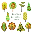 Hand drawn trees isolated sketch doodle style vector