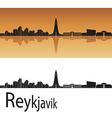 Reykjavik skyline in orange background vector