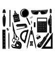Set of stationery tools black vector