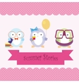 Cute cartoon penguins on summer vacation vector