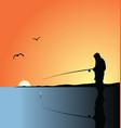Fishing on lake vector