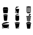 Black trash can icons vector