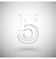 Three dimensional mesh stylish number on white vector