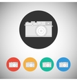 Film camera icon on round background vector