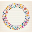 Flowers nature lined note book paper circle frame vector