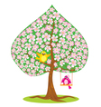 One of four seasons - spring - tree and funny bird vector