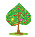 One of four seasons - summer - tree and funny bird vector