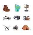 Hike icons set vector