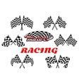 Black and white heraldic checkered racing flags vector