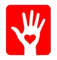 Hand with heart icon on red background vector