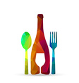 Polygonal glass cup fork and spoon vector