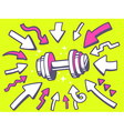 Arrows point to icon of dumbbell on yello vector