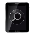 Glass search button icon on abstract tablet vector