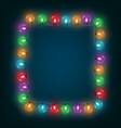 Multicolored glassy led christmas lights garland vector