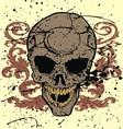Grunge floral skull vector