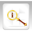 Gold magnifier icon or button for search info vector
