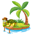 A turtle stranded in an island vector