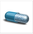 Medical blue capsule with granules vector