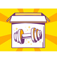 Open box with icon of dumbbell on yellow vector