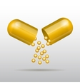 Opening gold medical capsule vector