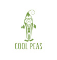 Cool peas with zipper in sunglasses vegetarian vector