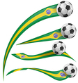 Brazil flag set with soccer ball vector