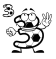 Cute number 3 with a soccer ball pattern vector