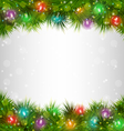 Multicolored christmas lights on pine branches on vector