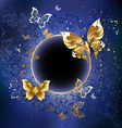 Gold butterflies on a blue background vector