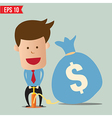 Cartoon business man pumping money balloon - vector
