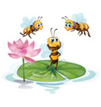 Lotus and bees vector