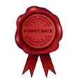 Money back guarantee wax seal vector