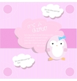Baby shower for girl in pink tones with penguin vector