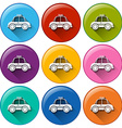 Round buttons with a taxi vector